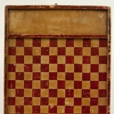 Double Sided Paint Decorated Red and White Antique Game Board