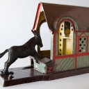 Original Mule Entering Barn Cast Iron Mechanical Bank