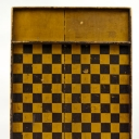 Antique American Mustard and Black Paint Decorated Game Board