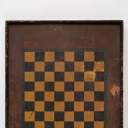 Antique American 4 Color Folk Art Checkerboard Game Board