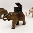 Original Elephant Howdah (Man Pops Out) Cast Iron Mechanical Bank