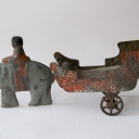 Early American Tin Pull Toy: Elephant and Rider Pulling Cart